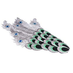 Homyl Peacock Feather Wing Embroidered Diy Patch Sewing Applique For Clothes Decoration