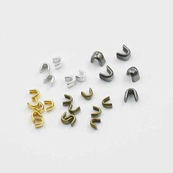 Micoshop 200 Pcs Zipper Stopers Top Stops 3 5 For Spiral Slider Bottom Rescue Repair Set Aluminum Nickle Gold Bronze Nickle-black Color Choice