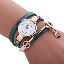 Axchongery Women's Watch Elegant Wrap Around Strap Bracelet Quartz Dial Metal Wristwatch With Pendant Green