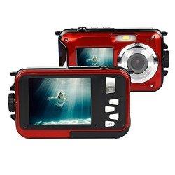 Fitiger Digital Camera 2.7 Inch +1.8 Inch Screens HD 1080P Cmos 16X Zoom Camcorder MINI Camera-red