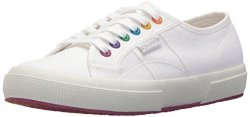 Superga Women's 2750 Multi Color Eyelets Sneaker White fuchsia 38 M Eu 7.5 Us