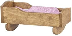 Amish-made Wooden Rebekah's Collection Doll Cradle With Blanket Set Natural Harvest Finish