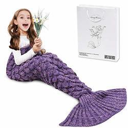 AmyHomie Mermaid Tail Blanket Mermaid Blanket Adult Mermaid Tail Blanket Crotchet Kids Mermaid Tail Blanket For Girls Scalepurpl