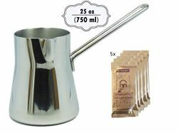 25 Ounce Thickest Heavy Duty Turkish Coffee Decanter Polished Stainless Steel Warmer Milk Ibrik Cezve Arabic Briki Stovetop Coffee Maker Espresso Pot Large 25 Oz