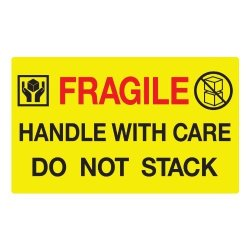 "Kenco Jumbo Fluorescent Yellow ""fragile Handle With Care Do Not Stack"" Pallet Labels 250 Labels Per Roll"