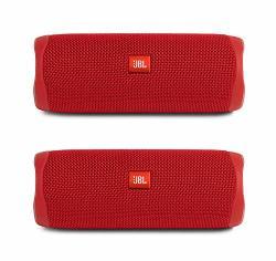 JBL Flip 5 Waterproof Portable Wireless Bluetooth Speaker Bundle - Pair Red
