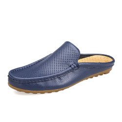 Men Breathable Cowhide Slip Resistant Soft Soles Casual Slippers