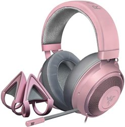 Kraken Razer Gaming Headset + Kitty Ears Bundle: Lightweight Aluminum Frame - Retractable Noise Cancelling MIC - For PC PS4 Nintendo Switch - Quartz Pink