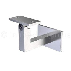 Stainless Steel Handrail Wall Bracket Square For Flat curved Bottom Tube Slim Adjustable By Inline Design