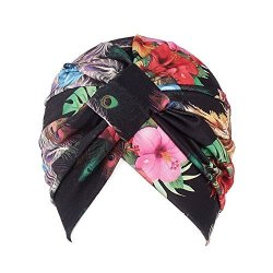 8927029f844 Wcysin Womens Turban Cap Flower Cancer Chemo Hat Elastic Turban Headbands  Wrap Cap Black
