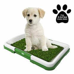 Petmaker Puppy Potty Trainer- Artificial Grass Mat Tray & 5 Extra Replacement Turf Pads- Portable Indoor Toilet Training For Pup