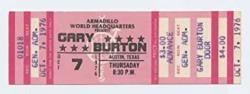 USA Gary Burton Ticket 1976 Oct 7 Austin Tx Unused