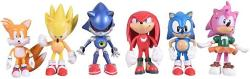 USA Max Fun Set Of 6PCS Sonic The Hedgehog Action Figures 5-7CM Tall Cake Toppers- Classic Sonic Amy Super Sonic Tails Metal Sonic And Knuckles