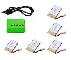 UUMART Upgrade 25C 3.7V 600MAH Batteries 5PCS With 5IN1 USB Charger 1PC For Syma X5 X5C X5A Rc Quadcopter