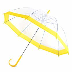 Kids Clear And Transparent Umbrella With An Easy Grip Handle Petit Size And Windproof For Boys And Girls. Yellow