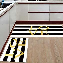 Kitchen Rug Set 2 Piece Mat Non-slip Floor Mat Bathroom Area Rugs Doormat Runner Rug Set Carpet Black And Whtie Stripe Love 15.7X23.6+15.7X47.2
