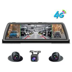 """Shizhen 360 Degree Panoramic Dashboard 4G Car Dvr Dash Cam 4CH Cameras Recorder 10"""" Touch Android Rear View Mirror With Gps Navi"""