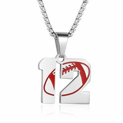 Adoor Football Athletes Jersey Number 12 Stainless Steel Pendant Necklace For Boys Girls Women Men 24 Inch Chain