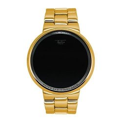 Techno Pave Iced Out Gold Digital Touch Screen Sports Designer Metal Band Watch