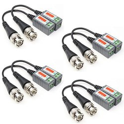 ANHAN 4-Channel Passive Video Balun Transceiver,BNC Male to UTP Unshield CAT5 RJ45 Twisted Pairs,Suppport HD 720p//1080p CVI TVI AHD Signal for CCTV Security Camera System 1 Pack