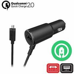 Turbo Fast 25W Car Charger Works For Huawei Y3 II With Extra USB Port And Long Hi-power Microusb Cable