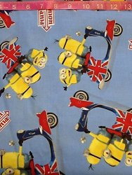 Springs Minions British Invasion By The Yard Cotton Print Kevin Stuart Bob On Scooters Despicable Me