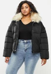 Missguided Plus Ultimate Fur Collar Puffer Jacket - Black