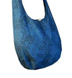 BTP Thai Cotton Hippie Hobo Sling Crossbody Bag Messenger Purse Paisley Print Large Blue PL31