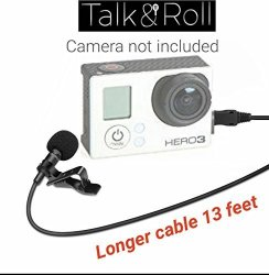 Talk N Roll Lavalier Lapel Clip-on Omnidirectional Condenser Microphone For Gopro Hero 3 Hero 3+ Hero 4 -13 Feet Cable 4 Meters