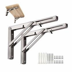 Home Joe S 2 Pcs 16 Folding Shelf Brackets Heavy Duty Stainless Steel Collapsible Foldable Shelf Bracket For Table Work Bench Space Saving Wall Mounted