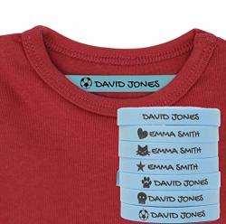 100 Personalised Iron-on Fabric Labels To Mark Your Clothes With Icons. White. Gentle With Your Kids Skin For Children's School Uniform. Icons Blue