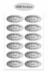 Silver Foil Autographed Label Stickers 1 X 2 Inch Oval Autographed By The Author Stickers Laminated Author STICKERS-1008 Labels pack