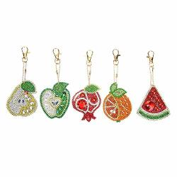 Diy Diamond Painting Keychains Special Shaped Fruit Resin Diamond Painting Ornaments Pendants Small Diamond Art For Kids And Adult Beginners 5PCS SET
