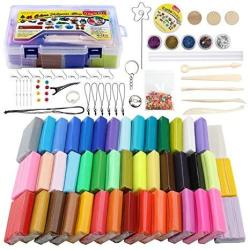 Ifergoo Polymer Clay Starter Kit 46 Colors Oven Bake Clay Diy Modeling Clay Bockers 5 Scuplting Tools 5 Colors Mica Powder 40 Je