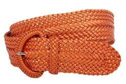 """INCH 2 Wide Hand Made Soft Metallic Woven Braided Round Belt Metallic Orange S M-29"""" 33"""