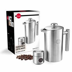 Hello Cucina French Press Coffee Maker 34 Oz Coffee Cold Brewer Top Quality Stainless Steel Press With Companion Glass & Stainless Steel Travel Jar