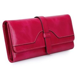 S-ZONE Women's Rfid Blocking Real Leather Long Organizer Wallet Card Holder Ladies Clutch Rose Red