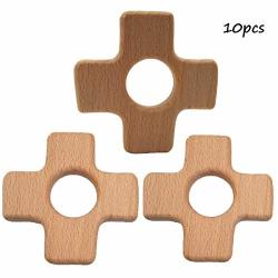 Alenybeby 10PCS Baby Teether Handmade Beech Wooden Cross Teether Baby Teething Toys Diy Crafts Pendant Chewable Pacifier Chain Accessories Cross 10PCS