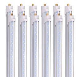 Barrina 8 Foot LED Bulbs 44W 5500LM 6500K Super Bright T8 T10 T12 LED Tube Lights FA8 Single Pin LED Lights Clear Cover 8