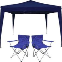 AfriTrail Gazebo & 2x Chair Combo 3x3m in Blue
