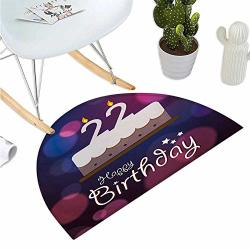 "Birthday 22ND Half Round Door Mats Vibrant Greeting Bokeh Style Backdrop And Surprise Party Cake Image Entry Door Mat H 39.3"" Xd 59"" Fuchsia Dark Blue"