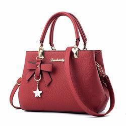 Women Mei= Fashion Handbags Pu Leather Shoulder Bags For Sweet Messenger Tote Bags Wine Red