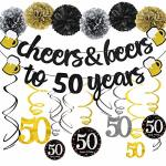 Joymee 50TH Birthday Party Decorations Kit Cheers & Beers To 50 Years Banner 6 Pom Poms 12-PACK Sparkling 50 Hanging Swirl For 5