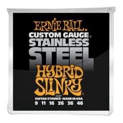 Ernie Ball 2247 Stainless Steel Series 9-46 Hybrid Slinky Stainless Steel Electric Guitar Strings Orange