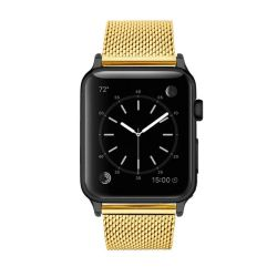 Colton James Mesh Strap For Black space Grey 38MM Apple Watch - Gold