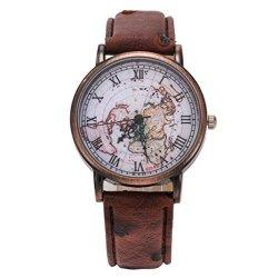 WATCH Womens Classic Map Leather Pattern Pu Wrist Brown