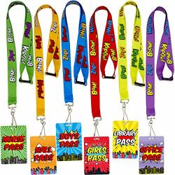 Superhero Hall Pass Lanyards And School Passes Set Of 6