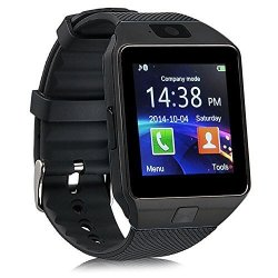 SmartWatch Touchscreen Wrist Smart Phone Watch Sports Fitness Tracker With Sim Sd Card Slot Camera Pedometer Compatible With Smartphones Black