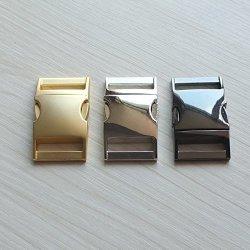 "Micoshop 2 Pcs Curve Buckles Size Metal Side Release For Lanyard Strap Paracord Bracelets 1"" 25MM Nickle"