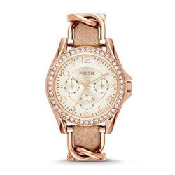 Fossil Women Riley Quartz Stainless Steel And Leather Multifunction Watch Color: Rose Gold Tan Model: ES3466